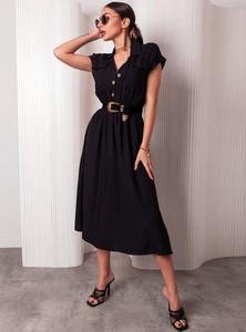 Czarna sukienka SELFIEROOM z dekoltem w kształcie litery v z krótkim rękawem