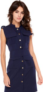 Niebieska sukienka Ooh la la mini bez rękawów w militarnym stylu