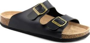Czarne buty letnie męskie American Club ze skóry z klamrami