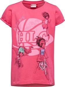 Różowa koszulka dziecięca LEGO Wear z bawełny