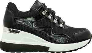 Czarne buty sportowe Haidra ze skóry ekologicznej
