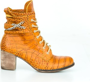 Pomarańczowe botki Zapato sznurowane