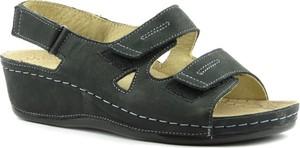 Sandały Helios w stylu casual na rzepy ze skóry