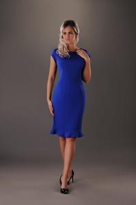 Granatowa sukienka Oscar Fashion dopasowana midi z okrągłym dekoltem
