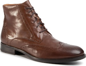 Brązowe buty zimowe Gino Rossi sznurowane ze skóry