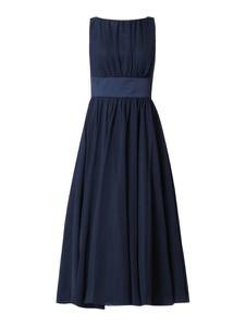 Granatowa sukienka Swing rozkloszowana z szyfonu