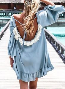 Niebieska sukienka Sandbella z długim rękawem mini