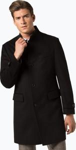 Czarny płaszcz męski Boss z wełny