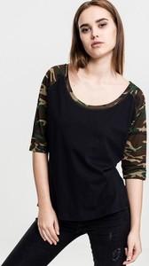 Czarna bluzka Urban Classics z okrągłym dekoltem z długim rękawem z bawełny