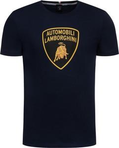 Granatowy t-shirt Lamborghini z krótkim rękawem