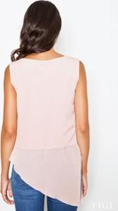 Różowa bluzka Figl z okrągłym dekoltem z tkaniny