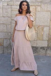 Różowa sukienka Popatu hiszpanka z krótkim rękawem