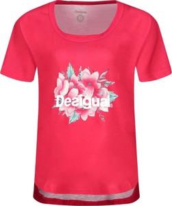 Czerwona bluzka Desigual Sport z okrągłym dekoltem