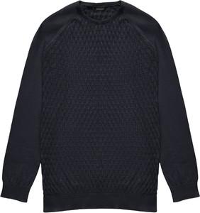 Czarny sweter Borgio z bawełny z okrągłym dekoltem w stylu casual