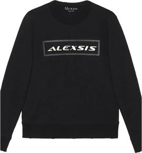 Czarny sweter Alexis w młodzieżowym stylu z okrągłym dekoltem