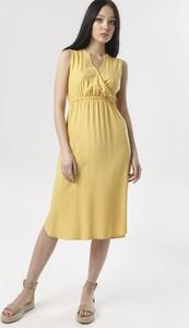 Żółta sukienka born2be midi bez rękawów