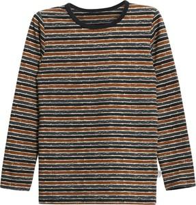 Brązowa bluzka dziecięca Wheat z długim rękawem dla chłopców z bawełny