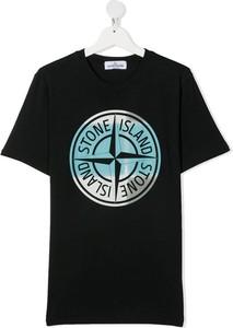 Czarna bluzka dziecięca Stone Island dla chłopców z bawełny