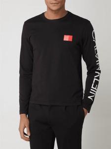 Czarna koszulka z długim rękawem Calvin Klein z długim rękawem z bawełny