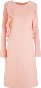 Różowa sukienka Nife z długim rękawem