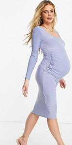 Missguided Maternity – Jasnoniebieska sukienka midi z długimi rękawami i dekoltem karo-Niebieski