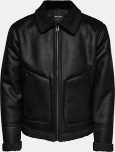 Czarna kurtka Only & Sons w stylu casual ze skóry ekologicznej