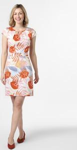Pomarańczowa sukienka More & More mini z bawełny z okrągłym dekoltem
