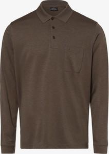 Brązowa koszulka polo Ragman z bawełny z długim rękawem
