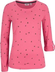 Różowa bluzka bonprix z okrągłym dekoltem z bawełny w stylu casual