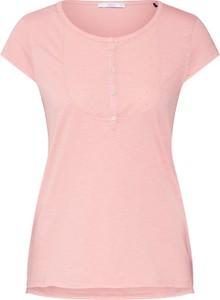 Różowa bluzka edc by Esprit z okrągłym dekoltem w stylu casual