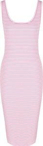 Różowa sukienka Tommy Jeans z okrągłym dekoltem