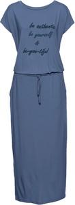 Niebieska sukienka bonprix John Baner JEANSWEAR z okrągłym dekoltem w stylu casual z krótkim rękawem
