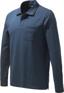 Niebieski t-shirt Beretta z bawełny z długim rękawem