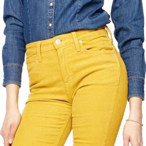 Żółte jeansy Lee ze sztruksu w stylu casual