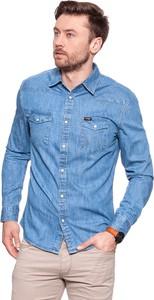 Niebieska koszula Wrangler z długim rękawem z jeansu w stylu casual