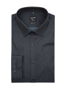 Czarna koszula Olymp No. Six z długim rękawem z klasycznym kołnierzykiem