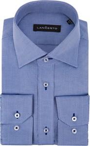 Niebieska koszula LANCERTO z tkaniny z klasycznym kołnierzykiem