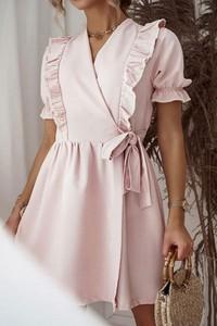 Różowa sukienka Shopaholics Dream z dekoltem w kształcie litery v