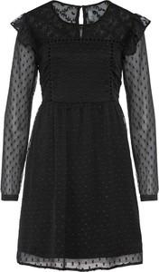 Czarna sukienka bonprix z okrągłym dekoltem mini koszulowa