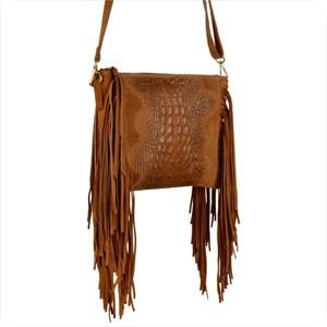 Brązowa torebka Borse in Pelle w stylu boho z frędzlami