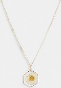 ASOS DESIGN – Naszyjnik z zawieszką w kształcie stokrotki w kolorze złotym