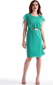 Turkusowa sukienka POTIS & VERSO z okrągłym dekoltem z krótkim rękawem w stylu glamour