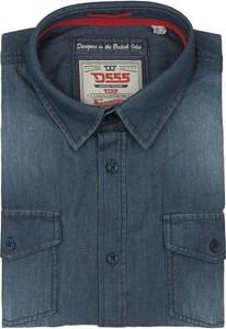 Niebieska koszula D555 z klasycznym kołnierzykiem z krótkim rękawem z jeansu