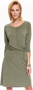 Zielona sukienka Top Secret z dekoltem w kształcie litery v z długim rękawem midi