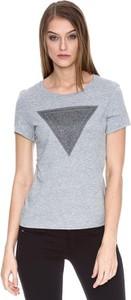 T-shirt Guess z okrągłym dekoltem z długim rękawem