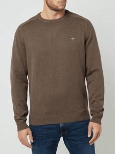 Brązowy sweter Fynch Hatton z okrągłym dekoltem z bawełny