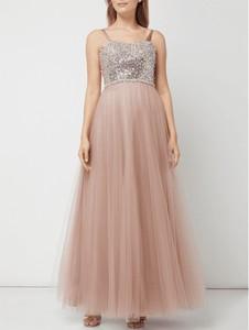 Różowa sukienka Luxuar maxi z satyny na ramiączkach