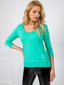 Zielona bluzka Sheandher.pl w stylu casual z bawełny z okrągłym dekoltem