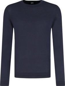 Niebieski sweter BOSS Casual z kaszmiru