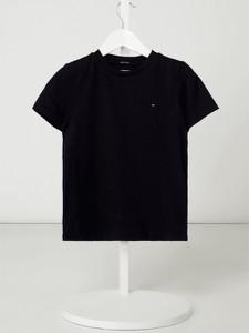 Granatowa koszulka dziecięca Tommy Hilfiger z krótkim rękawem z bawełny dla chłopców